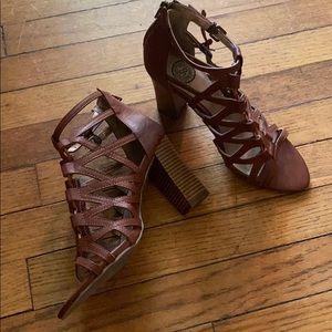 So Strappy Brown Sandal Heels